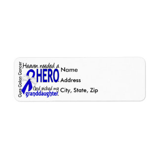 Heaven Needed a Hero Colon Cancer Granddaughter Return Address Label