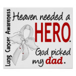 Heaven Needed a Hero Dad Lung Cancer Posters