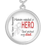 Heaven Needed a Hero Dad Lung Cancer Round Pendant Necklace