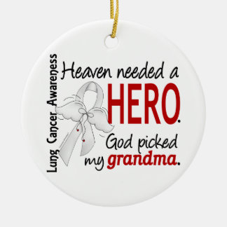 Heaven Needed A Hero Grandma Lung Cancer Christmas Ornament