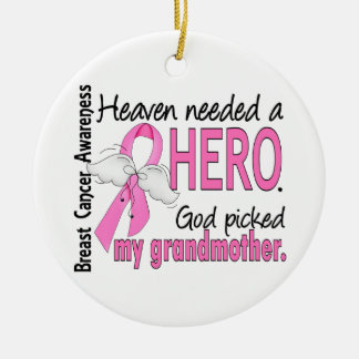 Heaven Needed A Hero Grandmother Breast Cancer Christmas Ornament