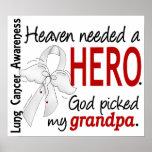 Heaven Needed A Hero Grandpa Lung Cancer Print
