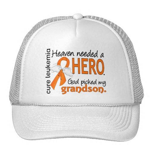 Heaven Needed a Hero Grandson Leukemia Mesh Hats