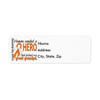 Heaven Needed a Hero Great Grandpa Leukemia Return Address Label