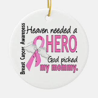 Heaven Needed A Hero Mommy Breast Cancer Christmas Ornament
