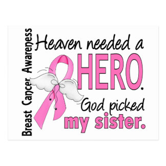 Heaven Needed A Hero Sister Breast Cancer Postcard