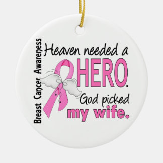 Heaven Needed A Hero Wife Breast Cancer Christmas Ornament