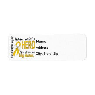 Heaven Needed Hero Big Sister Childhood Cancer Return Address Label
