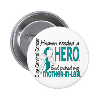 Heaven Needed Hero Cervical Cancer Mother-In-Law 6 Cm Round Badge