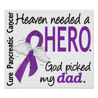 Heaven Needed Hero Dad Pancreatic Cancer Poster