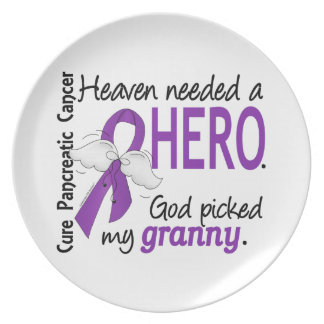 Heaven Needed Hero Granny Pancreatic Cancer Party Plates