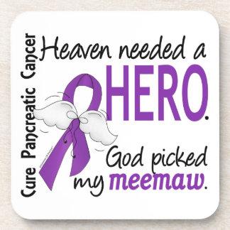 Heaven Needed Hero MeeMaw Pancreatic Cancer Beverage Coaster