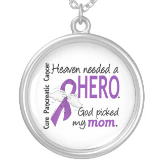 Heaven Needed Hero Mom Pancreatic Cancer Silver Plated Necklace