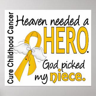 Heaven Needed Hero Niece Childhood Cancer Posters