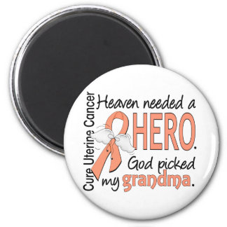 Heaven Needed Hero Uterine Cancer Grandma 2 Inch Round Magnet