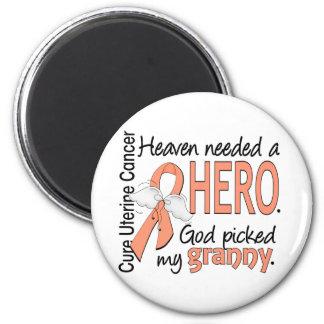 Heaven Needed Hero Uterine Cancer Granny 2 Inch Round Magnet