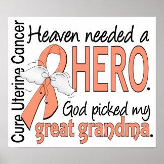 Heaven Needed Hero Uterine Cancer Great Grandma Poster