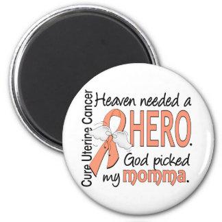 Heaven Needed Hero Uterine Cancer Momma 6 Cm Round Magnet
