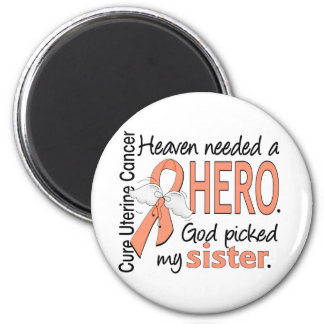 Heaven Needed Hero Uterine Cancer Sister 2 Inch Round Magnet