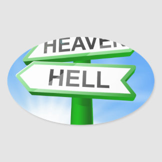 Heaven or Hell sign in field Oval Stickers