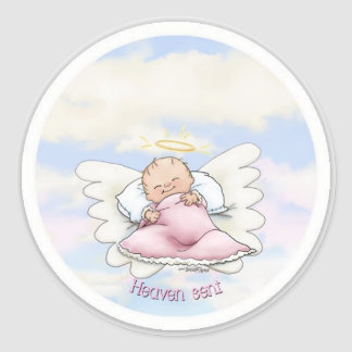 Heaven Sent - Angel Baby Girl Round Sticker