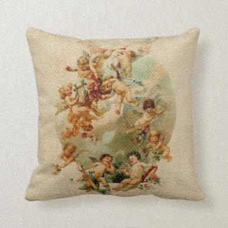 Heavenly Angel Cherubs Vintage Script Burlap Throw Cushions