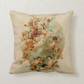 Heavenly Angel Cherubs Vintage Script Burlap Throw Pillow