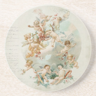 Heavenly Angel Cherubs Vintage Script Coaster