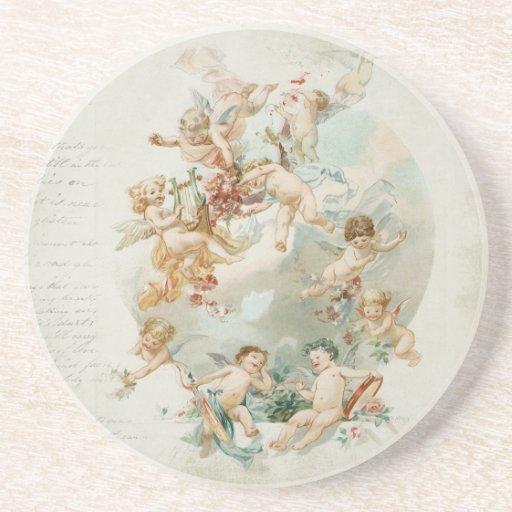 Heavenly Angel Cherubs Vintage Script Drink Coasters
