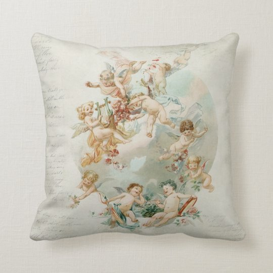Heavenly Angel Cherubs Vintage Script Throw Pillow