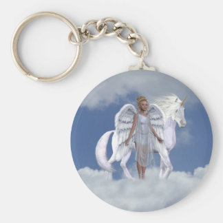 Heavenly Angel Unicorn Scene Basic Round Button Key Ring