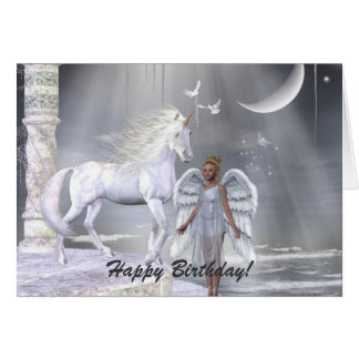 Heavenly Angel Unicorn Scene Card