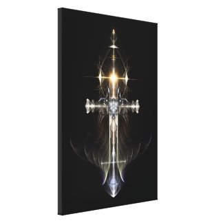 Heavenly Angel Wing Cross Canvas Print NWGBGBL