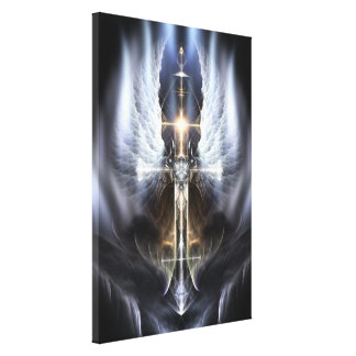 Heavenly Angel Wing Cross Fractal Art Canvas Print