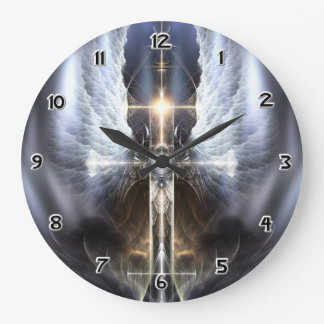 Heavenly Angel Wing Cross Fractal Art Wall Clock