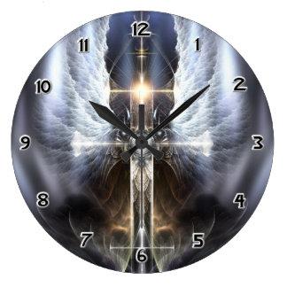 Heavenly Angel Wing Cross Fractal Art Wall Clock