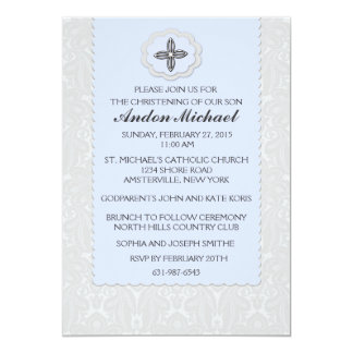 Heavenly Blue Damask Religious Invitation