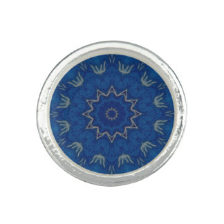 Heavenly Blue Mandala silver plated ring