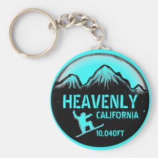 Heavenly California teal snowboard art keychain