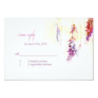 Heavenly Feathers Boho Wedding RSVP 9 Cm X 13 Cm Invitation Card