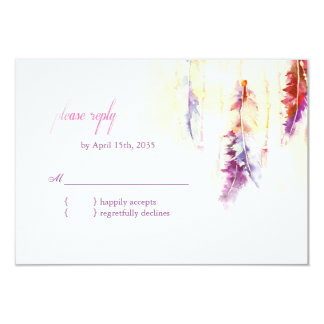 Heavenly Feathers Boho Wedding RSVP Card