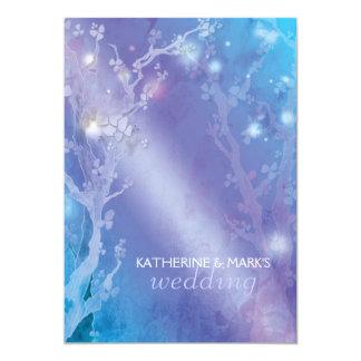 Heavenly Forest Shimmering Blue Wedding 13 Cm X 18 Cm Invitation Card
