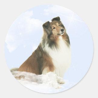 Heavenly Grace Sheltie Classic Round Sticker
