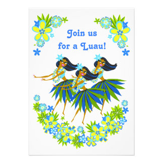 Heavenly Hula Luau BBQ Invitations