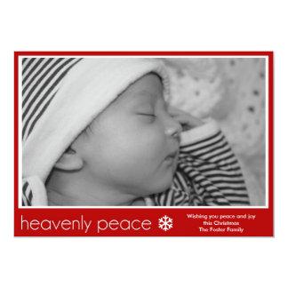"Heavenly Peace New Baby Photo Christmas Card 5"" X 7"" Invitation Card"