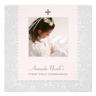 Heavenly Pink Damask Religious Photo Invitation Ve