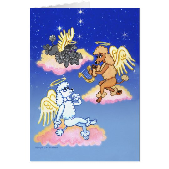 Heavenly Poodle Angels Card