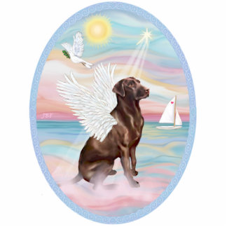 Heavenly Sea  -Chocolate Labrador Standing Photo Sculpture