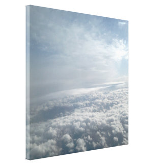 Heavenly Sky, Plane View Beautiful Clouds Canvas Stretched Canvas Prints