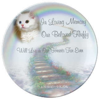Heavenly Stairway Cat and Dog Pet Memorial Plate